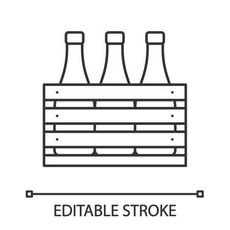 Icône linéaire de cas de bière. Bouteilles de vin ou de champagne dans une caisse en bois. Illustration de fine ligne. Bouteilles de lait dans une boîte en bois. Symbole de contour. Dessin de contour isolé de vecteur. Trait modifiable