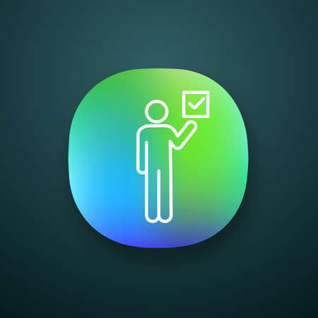 Voter app icon. UIUX user interface. Electorate. Make choice. Person holding checkbox. Expressing opinion. Web or mobile application.  Vector isolated illustration
