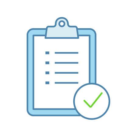 Icono de color de planificación de tareas. Lista de quehaceres. Gestión de proyectos. Lista de tareas. Lista de Verificación. Examen. Ilustración de vector aislado Ilustración de vector