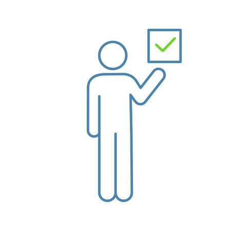 Voter color icon. Electorate. Make choice. Person holding checkbox. Expressing opinion. Isolated vector illustration