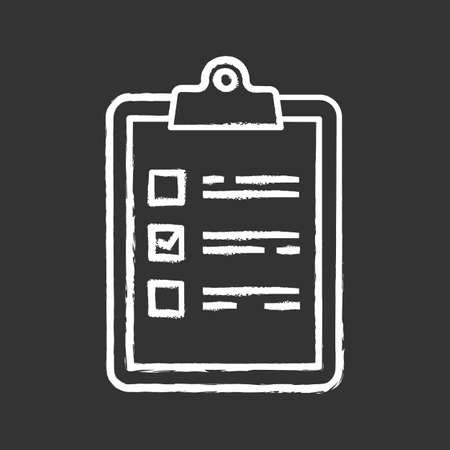 Task planning chalk icon. Checklist. To do list. Project management. Tasks list. Isolated vector chalkboard illustration