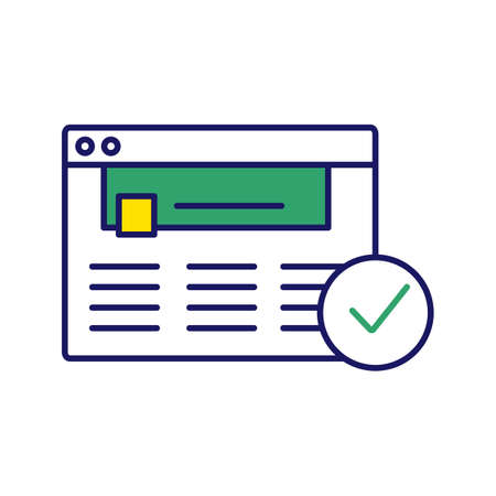 Approved website color icon. Web page. Successful login. Web page. Successful login. Authorization. Web site with check mark. Web browser verification. Isolated vector illustration Ilustração Vetorial