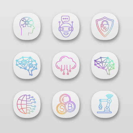 Artificial intelligence app icons set. UI/UX user interface. AI. Chat bot, neurotechnology, big data, internet of things, digital brain. Web or mobile applications. Vector isolated illustrations