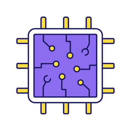 Chip color icon. Processor. Central processing unit. Artificial intelligence. Isolated vector illustration