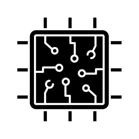 Chip glyph icon. Silhouette symbol. Processor. Central processing unit. Artificial intelligence. Negative space. Vector isolated illustration 矢量图片