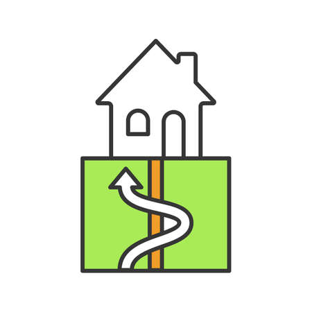 Geothermal energy color icon. Ground heat pump. Ecological house heating. Isolated vector illustration