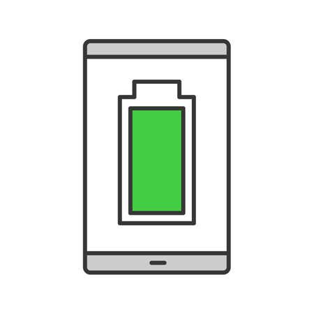 Voll aufgeladenes Smartphone-Akku-Farbsymbol. Handy-Aufladung abgeschlossen. Batteriestandsanzeige. Isolierte Vektorillustration