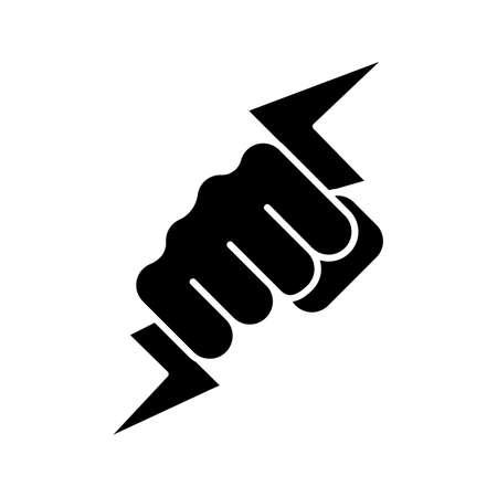 Hand met bliksemschicht glyph pictogram. Krachtige vuist. Elektrische energie. Zeus hand. Silhouet symbool. Negatieve ruimte. Vector geïsoleerde illustratie