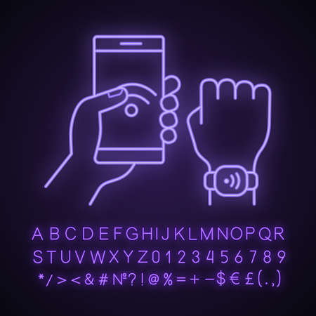 NFC bracelet connected to smartphone neon light icon. NFC phone synchronized with smartwatch. RFID wristband. Glowing sign with alphabet, numbers and symbols. Vector isolated illustration