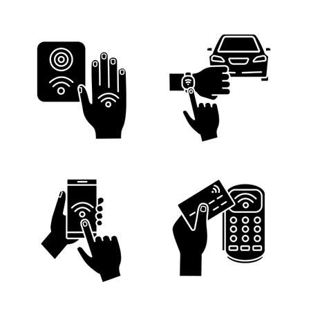 NFC technology glyph icons set. Near field smartphone, car and bracelet, payment terminal, reader. Silhouette symbols. Vector isolated illustration