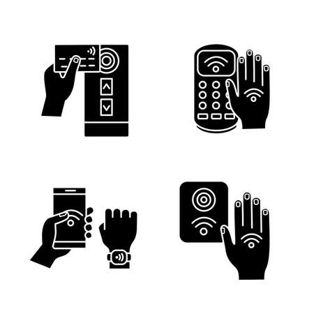 Set di icone del glifo con tecnologia NFC. Lettore di carte di credito vicino al campo, terminale di pagamento, braccialetto, controllo accessi, adesivo a mano. Simboli di sagoma. Illustrazione vettoriale isolato