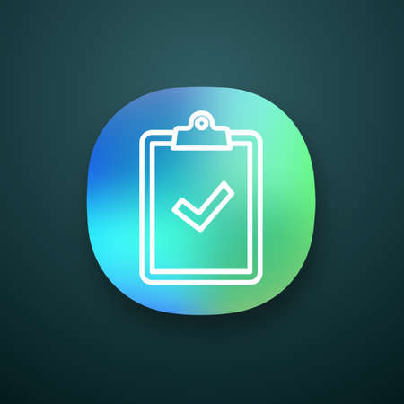 Clipboard with check mark app icon. Test, exam successfully completed. Verification and validation. Approved. Successfully tested. UIUX user interface. Web application. Vector isolated illustration Ilustração