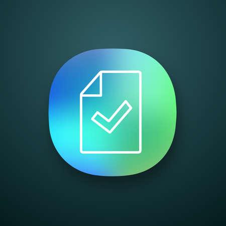 Icona dell'app per la verifica del documento. Test o esame completato con successo. Interfaccia utente UI/UX. Applicazione web o mobile. Foglio di carta con segno di spunta. Approvato. Illustrazione vettoriale isolato