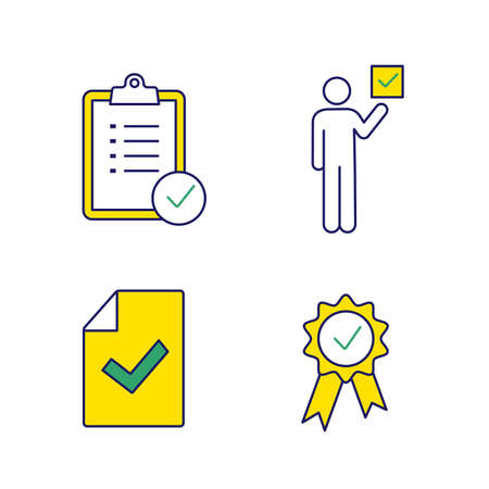 Approve color icons set. Verification and validation. Task planning, voter, document verification, award medal. Isolated vector illustrations