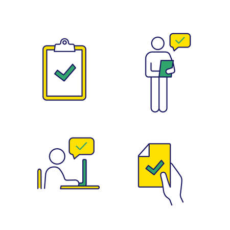 Approve color icons set. Verification and validation. Clipboard with check mark, person checking document, contract signing, approval chat. Isolated vector illustrations