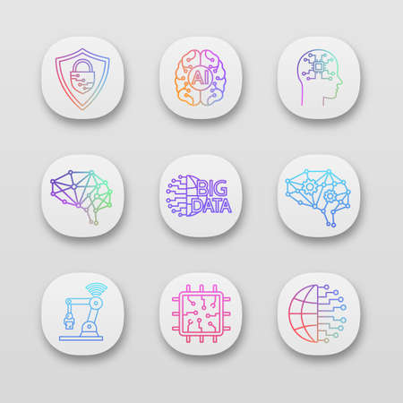 Artificial intelligence app icons set. UI/UX user interface. Neurotechnology. AI, digital brain, neural network, big data, iot robot, chip. Web or mobile applications. Vector isolated illustrations