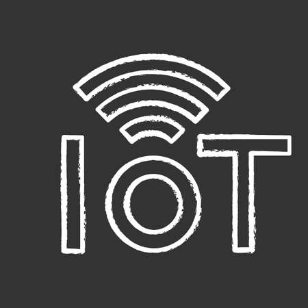 Internet of things chalk icon. IoT signal. Artificial intelligence. Isolated vector illustration