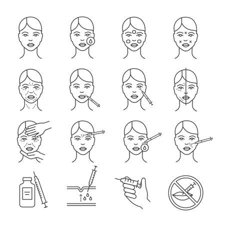 Neurotoxin injection procedure linear icons set. Facial rejuvenation. Anti wrinkle procedures. Cosmetology. Thin line contour symbols. Isolated vector outline illustrations. Editable stroke