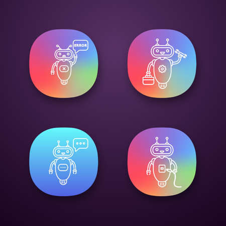 Chatbots app icons set. UI/UX user interface. Talkbots. Virtual assistants. Repair, error, USB, typing chat bots. Modern robots. Web or mobile applications. Vector isolated illustrations