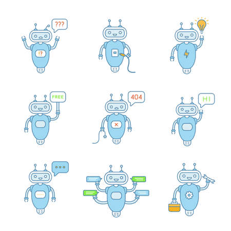 Chatbots color icons set. Talkbots. Question, USB, idea, free, not found, hi, error, typing, repair chat bots. Modern robots. Isolated vector illustrations Vektorové ilustrace