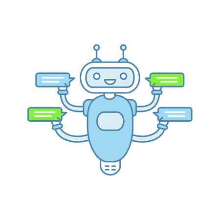 Chatbot con icono de color de cuatro burbujas de discurso. Talkbot charlando con varios usuarios. Servicio de atención al cliente. Robot moderno. Ilustración de vector aislado