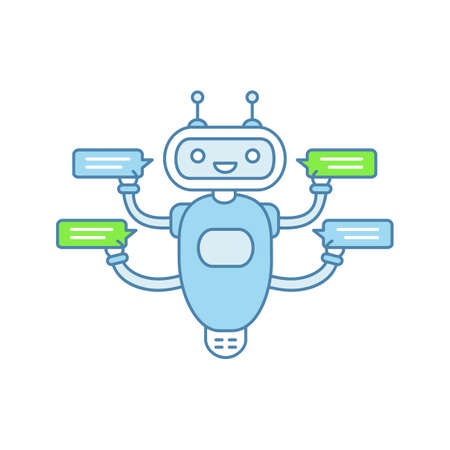 Chatbot with four speech bubbles color icon. Talkbot chatting to several users. Customer support service. Modern robot. Isolated vector illustration Illustration
