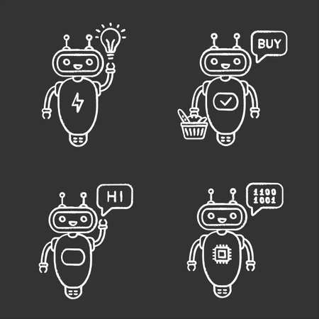 Chatbots chalk icons set. Talkbots. Virtual assistants. New idea, buy, hi, code chat bots. Modern robots. Isolated vector chalkboard illustrations