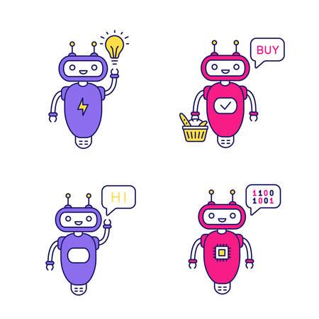Chatbots color icons set. Talkbots. Virtual assistants. New idea, buy, hi, code chat bots. Modern robots. Isolated vector illustrations Illusztráció