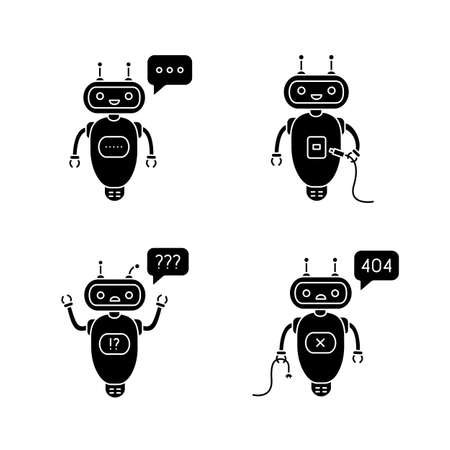 Chatbots glyph icons set. Talkbots. Virtual assistants. Typing, USB, question, not found chat bots. Modern robots. Silhouette symbols. Vector isolated illustration