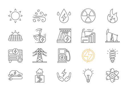 Conjunto de iconos lineales de energía eléctrica. Electricidad. Generación y acumulación de energía. Industria de la energía eléctrica. Recursos energéticos alternativos. Símbolos de contorno de línea fina. Ilustraciones de contorno de vector aislado. Trazo editable