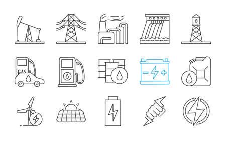 Ensemble d'icônes linéaires d'énergie électrique. Électricité. Production et accumulation d'énergie. Industrie de l'énergie électrique. Symboles de contour de ligne mince. Illustrations de contour de vecteur isolé. Trait modifiable