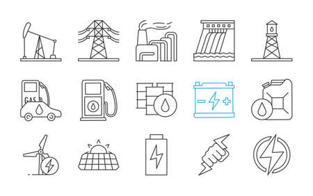 Electric energy linear icons set. Electricity. Power generation and accumulation. Electric power industry. Thin line contour symbols. Isolated vector outline illustrations. Editable stroke