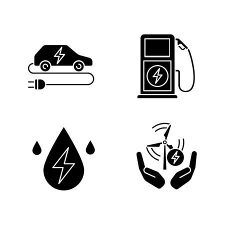 Electric energy glyph icons set. Alternative energetic resources. Eco car, water and wind energy, electric vehicle charging station. Silhouette symbols. Vector isolated illustration