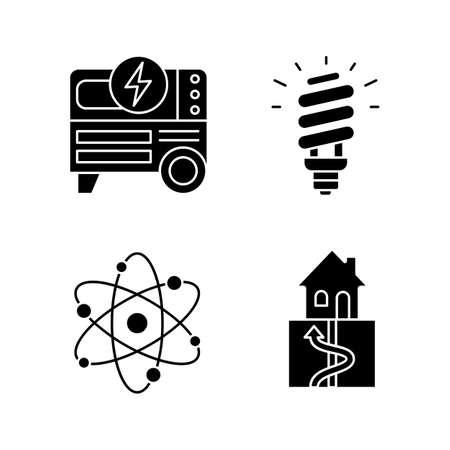 Conjunto de iconos de glifo de energía eléctrica. Generador de energía portátil, lámpara fluorescente compacta, geotermia y energía nuclear. Símbolos de silueta. Vector ilustración aislada