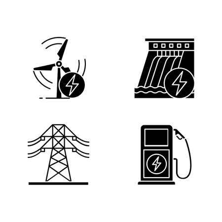 Electric power industry glyph icons set. High voltage electric line, wind and water energy, electric vehicle charging station. Silhouette symbols. Vector isolated illustration