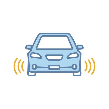 Coche inteligente en el icono de color de vista frontal. NFC automático con sensores de radar. Vehículo inteligente. Automóvil autónomo. Coche autónomo. Vehículo sin conductor. Ilustración de vector aislado Ilustración de vector