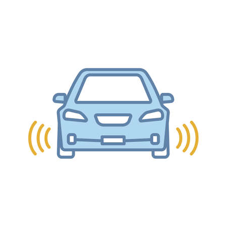 Smart car in front view color icon. NFC auto with radar sensors. Intelligent vehicle. Self driving automobile. Autonomous car. Driverless vehicle. Isolated vector illustration 向量圖像