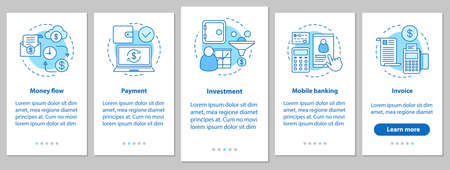 Banking onboarding mobile app page screen with linear concepts. Financial services. Money flow, payment, investment, mobile banking, invoice steps instructions. UX, UI, GUI vector illustrations Illustration