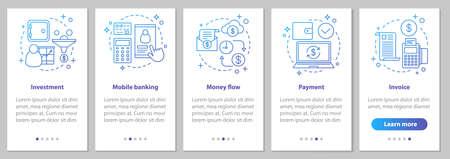 Banking Onboarding Mobile App Seitenbildschirm mit linearen Konzepten. Finanzdienstleistungen. Anweisungen zu Geldfluss, Zahlung, Investition, Mobile Banking und Rechnungsschritten. UX-, UI-, GUI-Vektorillustrationen Vektorgrafik