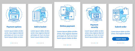 Online shopping onboarding mobile app page screen with linear concepts. Digital purchase. E-payment. Steps graphic instructions. UX, UI, GUI vector template with illustrations