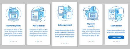 Online winkelen onboarding mobiele app-paginascherm met lineaire concepten. Digitale aankoop. E-betaling. Stappen grafische instructies. UX, UI, GUI vector sjabloon met illustraties