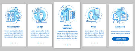 Medicine and healthcare onboarding mobile app page screen with linear concepts. Doctor, nurse, clinic, treatment, anamnesis. Medical service steps graphic instructions. UX, UI, GUI vector illustration Illustration