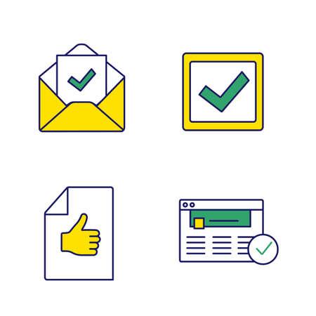 Approuver le jeu d'icônes de couleur. Verification ET VALIDATION. Confirmation par e-mail, case à cocher, document d'approbation, site Web approuvé. Illustrations vectorielles isolées