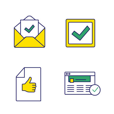 Approve color icons set. Verification and validation. Email confirmation, checkbox, approval document, approved website. Isolated vector illustrations