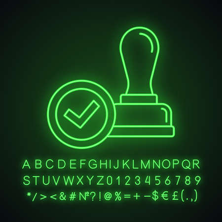 Stamp approved neon light icon. Stamp of approval. Verification and validation. Certified, approved. Glowing sign with alphabet, numbers and symbols. Vector isolated illustration