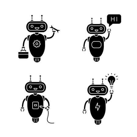 Chatbots glyph icons set. Talkbots. Virtual assistants. Repair, USB, hi, new idea chat bots. Modern robots. Silhouette symbols. Vector isolated illustration