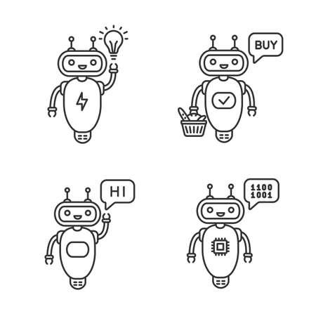 Chatbots linear icons set. Talkbots. Virtual assistants. New idea, buy, hi, code chat bots. Modern robots. Thin line contour symbols. Isolated vector outline illustrations. Editable stroke Illusztráció