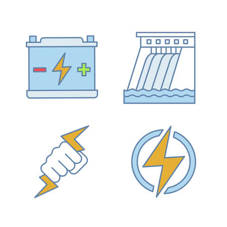 Electric energy color icons set. Accumulator, hydroelectric dam, power fist, lightning bolt. Isolated vector illustrations Illustration