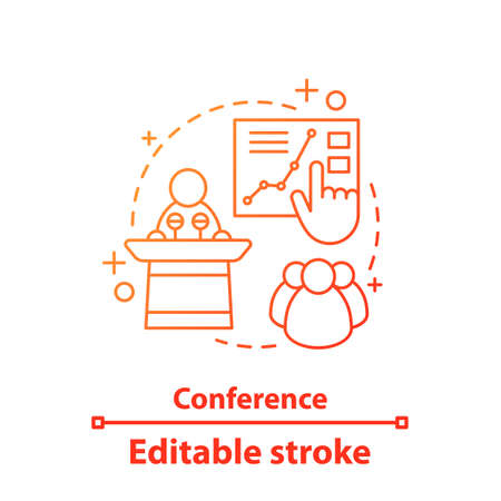 Conference concept icon. Presentation. Business training idea thin line illustration. Public speech. Vector isolated outline drawing. Editable stroke