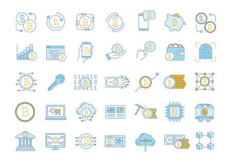 Bitcoin cryptocurrency color icons set. Digital money. Crypto currency. Mining business. Bitcoin trading. Isolated vector illustrations
